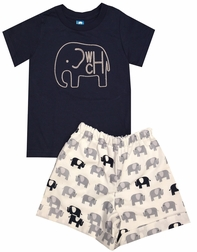 Boy's Monogrammed Elephant with Navy Shirt and Elephants Fabric Shorts or Gray Stripe Seersucker Shorts Outfit