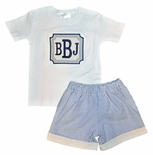 Boy's Monogrammed Navy and Khaki Stripe Seersucker Frame Patch Shorts or Pants Outfit