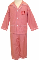 Boy's Monogrammable Red Gingham Pajamas with Pockets Perfect for Christmas