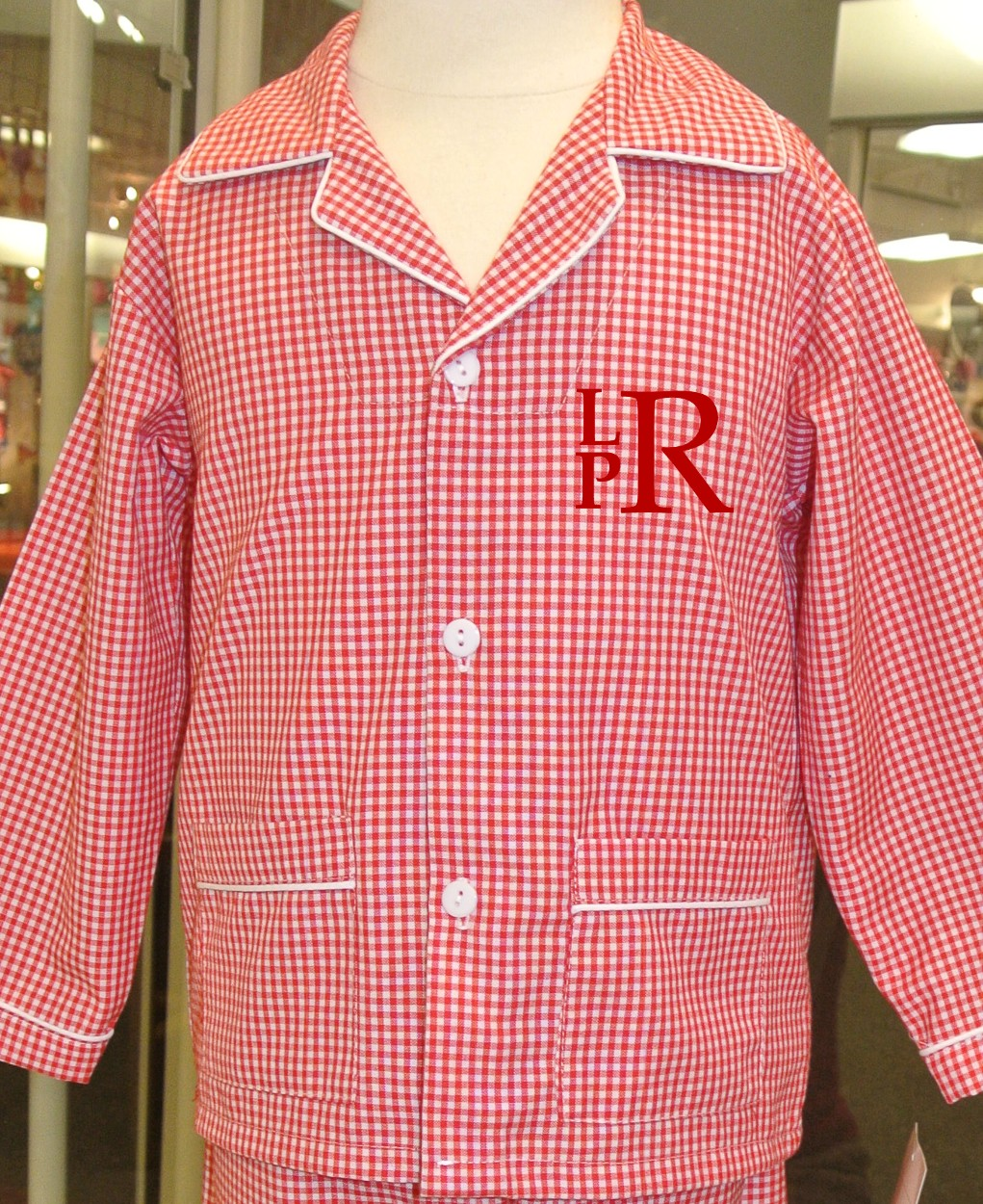 Boy's Monogrammed Red Gingham Pajamas with Pockets Perfect for ...