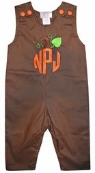 Boy's Pumpkin Monogram Shirt, John John, Longall or Pants Outfit