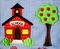 Monogrammable Boy's School House and Apple Tree John John