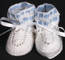 Boy's Knit Booties in Blue and White