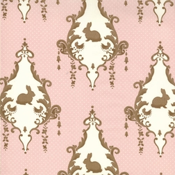 Pink And Brown Rabbit Bunny Damask Fabric.