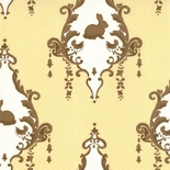 Yellow And Brown Rabbit Bunny Damask Fabric.