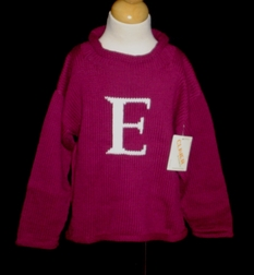 Children's Monogrammed Knit Sweater In Burgundy.