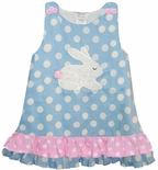 Girl's Custom Easter Bunny Dress in Blue Dots Fabruc