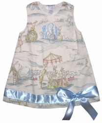 Custom Made Girl's Cottontail Bunny Toile Dress.