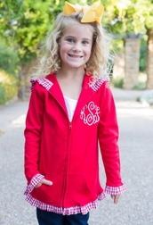 Caroline Bradlee Girl's Red Jacket with Red Gingham Trim Perfect for Christmas