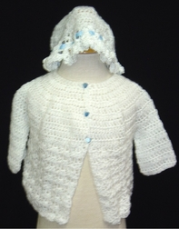 Baby Boy's Sweater Hand Knit with Blue Trim & Bonnet