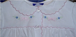Carriage Boutiques Gown for Baby Girls, Embroidered Bows Flowers