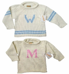 Custom Knitted Monogram Sweater | Baby Toddler & Youth Girls & Boys