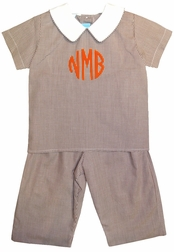 Claire & Charlie Boy's Monogrammable Brown Gingham Top and Pants Set