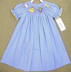 Claire & Charlie Girl's Smocked Dress with Beauty and the Beast Belle