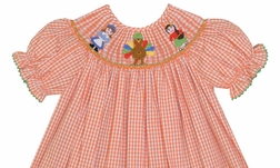 Claire & Charlie Girl's Smocked Girl Pilgrim, Indian and Funny Pumpkin