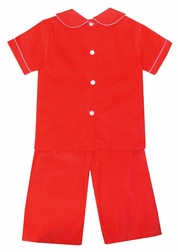 Claire & Charlie Boy's Monogrammable Red Corduroy Pants Set