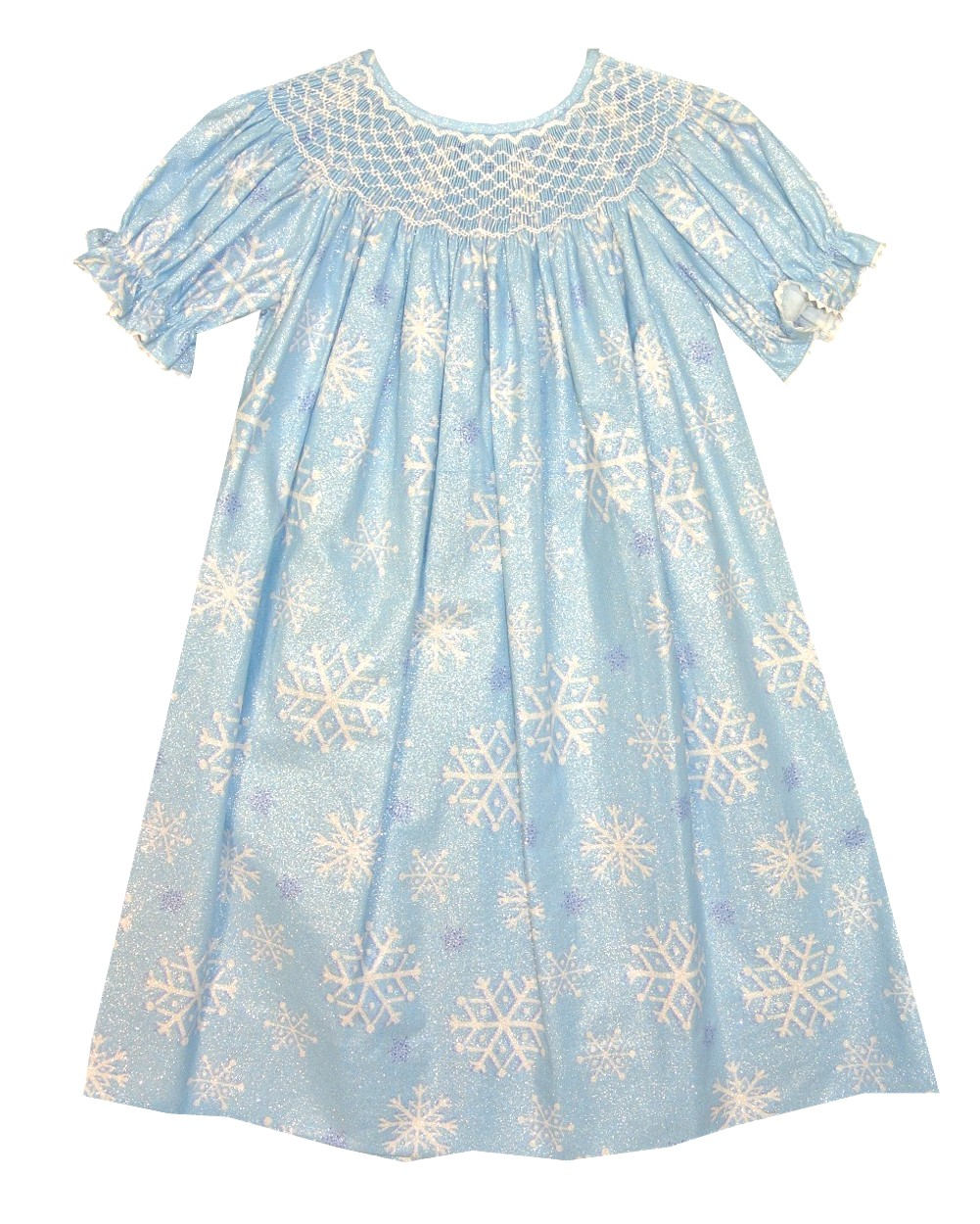 Claire & Charlie Smocked Frozen Elsa Dress in Blue Shiney Snowflake ...