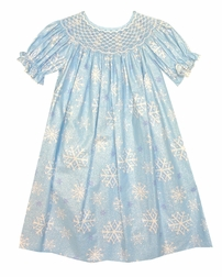 Claire & Charlie Smocked Frozen Elsa Dress in Blue Shiney Snowflake Fabric