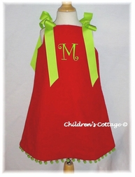 Custom Christmas Dress in Red And Green Corduroy with Shoulder Ribbons