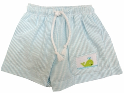 Cukee's Smocked Whale Light Blue Strip Seersucker Swim Trunks for Boys