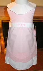 Cukees Girl's Pink and White Monogrammable Collar Dress