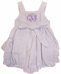 Cukees Monogrammable Lavender Seersucker Girl's Bow Bubble