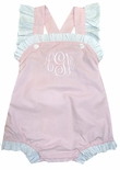 Cukees Monogrammable Pink with White Ruffles Cross Back Bubble