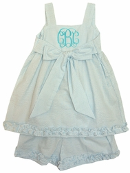 Cukees Monogrammable Turquoise Seersucker Bow Swing Top and Shorts
