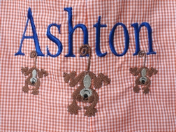 Custom Boy's Monogrammed Name and Monkeys Or Frogs Outfit.
