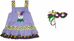 Custom Made Mardi Gras Girls Dress or Outfit with Jester or Mask