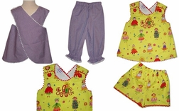 Custom Girl's Baby's Criss Cross Top & Bloomers or Shorts