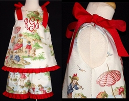 Custom Girl's Beach Toile Ribbon Tie Outfit.