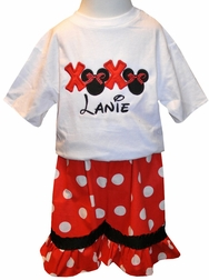 Custom Disney Minnie Mouse Valentine's Hugs and Kisses Outfit
