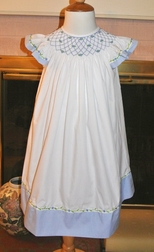 Delaney Girl's Bishop Smocked Dress with Blue Gingham Trim and Blue Bullions