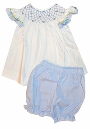 Delaney Girl's Bishop Smocked Top and Bloomers Popover Set