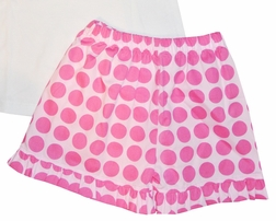 Delaney Monogrammable Hot Pink Big Dots Shorts and Dots Ruffle Shirt Set