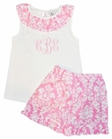 Delaney Monogrammable Pink Damask Shorts and Damask Ruffle Shirt Set