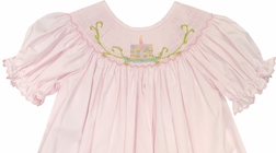 Delaney Smocked Birthday Dress in Pink