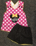 Disney Girl's Minnie Mouse Criss Cross Back Shorts Outfit in Hot Pink with White Dots and Black on Black Swirls