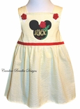 Disney Girl's Personalized Monogrammed Belle Beauty and the Beast Yellow Seersucker Dress or Swess Top and Shorts