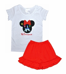 Disney Girl Minnie Mouse White Ruffle Shirt with Fairy Tale Castle and Balloons or Outfit