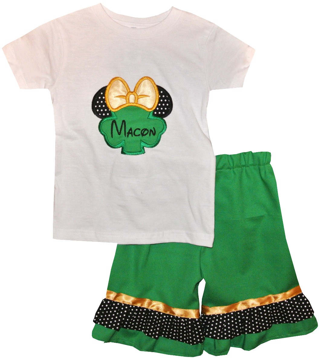 d82415150 Disney Minnie Mouse St Patrick's Day Shamrock Shirt or Shorts or Capris  Outfit for Girls