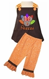 MINNIE MOUSE Turkey Thanksgiving Dress or Outfit with Fabric Feathers and Ruffles