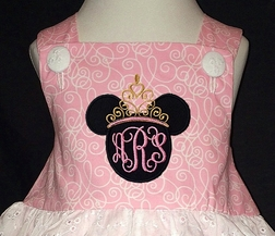 Disney Princess Minnie Mouse with her Crown and Monogram