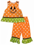 Girl's Monogrammed Halloween Pumpkin Fall Custom Dots Outfit