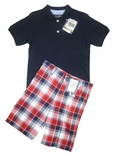Monogrammed Boys Polo Shirt in Navy with Plaid Shorts Outfit