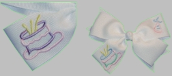 Embroidered Birthday Bow For Girls.
