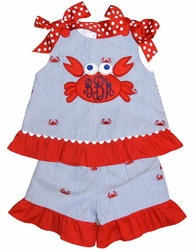 Girl's Monogrammed Crabs Seersucker Custom Dress or Outfit