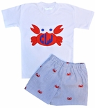 Boy's Monogrammed Crabs Seersucker Custom Shorts Outfit