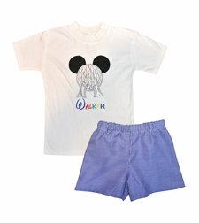 Epcot Ball Mickey Mouse Appliqued Shirt or Shorts Outfit in Epcot Logo Colors